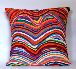 Katran Cushion : Wave Pattern : Multicolor Cushion Cover By Sahil & Sarthak