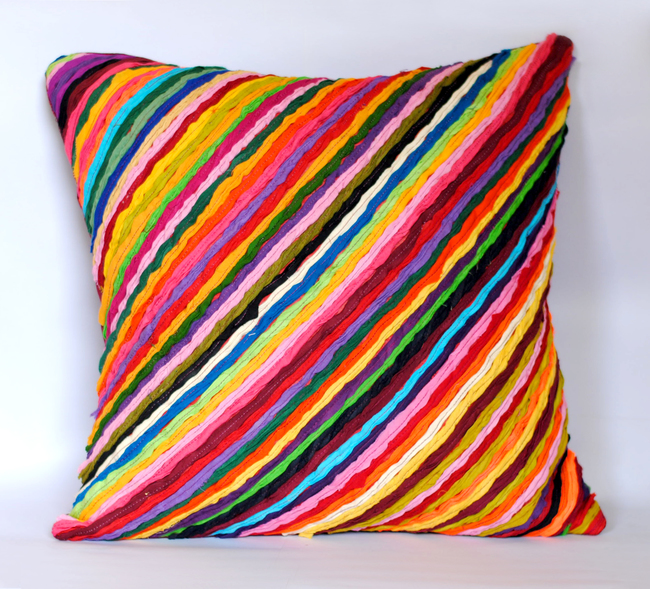 Katran Cushion : Diagonal Line Pattern : Multicolor Cushion Cover By Sahil & Sarthak