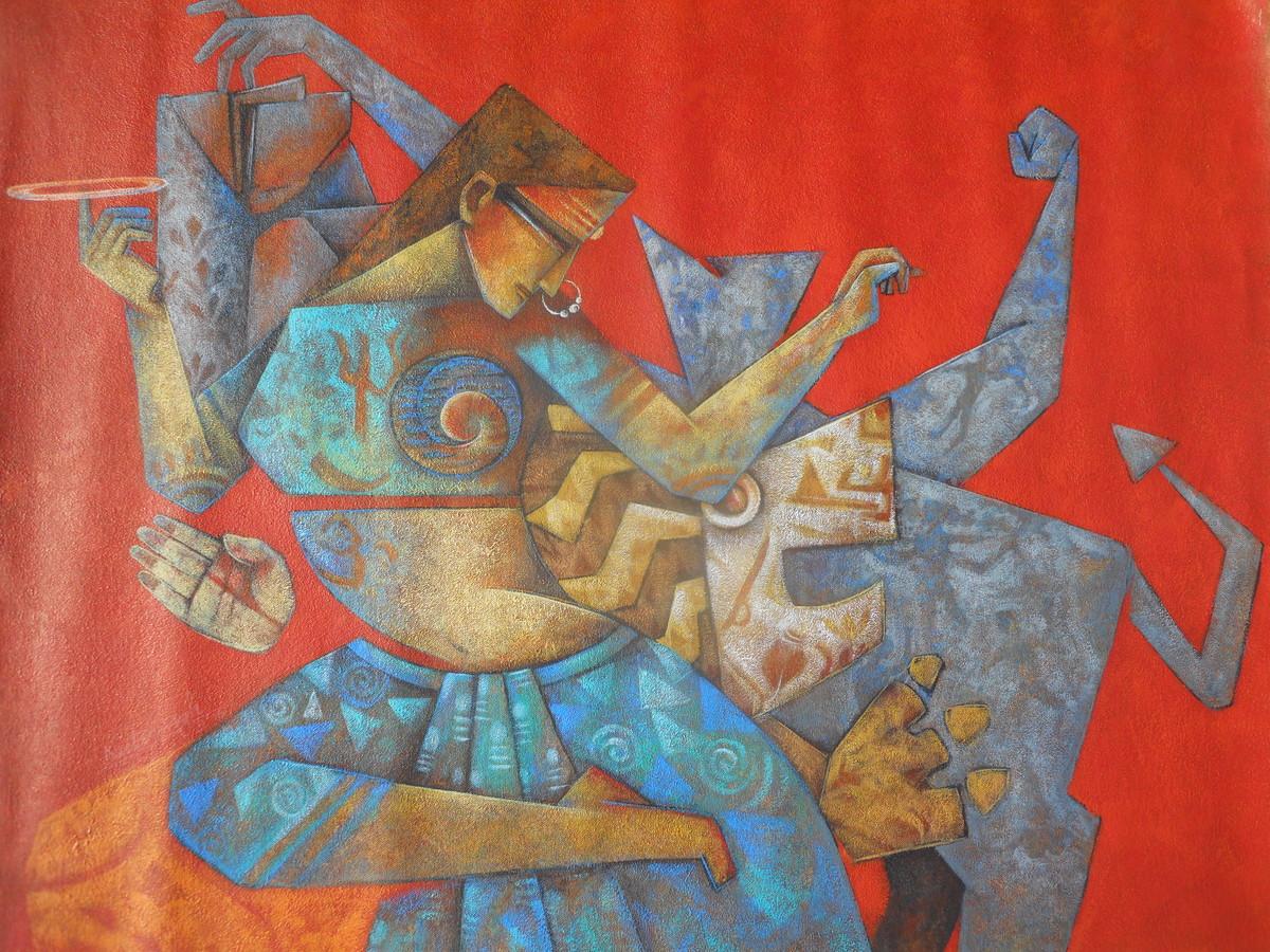 Shaktirupa by Neeta Singh, Geometrical, Geometrical Painting, Acrylic on Canvas, Brown color