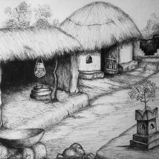 Rula India by Vishwanath Bhat, Illustration Drawing, Pen on Paper, Gray color