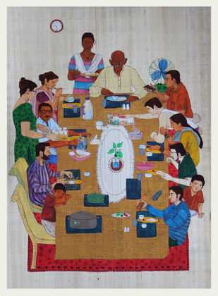 Family time by pranav sood, Expressionism Painting, Gouache on Paper, Brown color