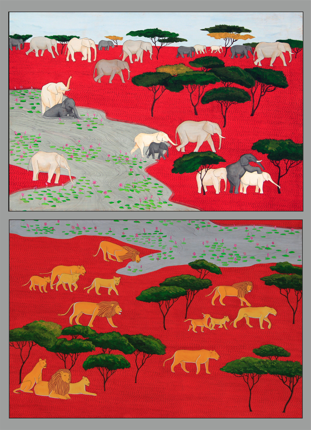 elephants and lions by pranav sood, Expressionism Painting, Gouache on Paper, Red color