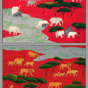 elephants and lions Digital Print by pranav sood,Expressionism