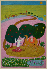 lets go to the carnival by pranav sood, Expressionism Painting, Ink on Paper, Green color