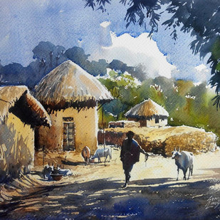 untitled by Sunil Linus De, Impressionism Painting, Watercolor on Paper, Brown color