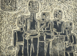 Mood - A by S K Sahni, Expressionism Printmaking, Linocut Print on Paper, Beige color