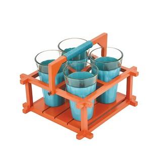 PoppadumArt Chai Glasses - Aquamarine and Orange - Set of 4 Serveware By PoppadumArt