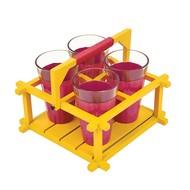 PoppadumArt Chai Glasses - Pink and Chrome Yellow - Set of 4 Serveware By PoppadumArt
