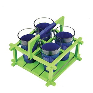 PoppadumArt Chai Glasses - Royal Blue and Green - Set of 4 Serveware By PoppadumArt