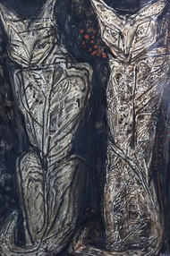 Cats by R.B Bhaskaran, Expressionism, Expressionism Painting, Mixed Media on Board, Gray color