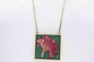 Square Locket with Real Cockscomb Flower on Emerald Green Enameled Base with Brass Backing Necklace By Alankaara India