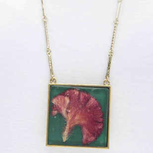 Square Locket with Real Cockscomb Flower on Emerald Green Enameled Base with Brass Backing by Alankaara India, Contemporary Necklace