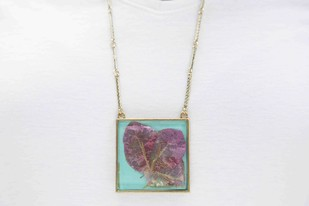Square Locket with Real Pink Bougainvillea Flower on Turquoise Blue Enameled Base with Brass Backing Necklace By Alankaara India