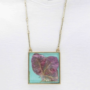 Square Locket with Real Pink Bougainvillea Flower on Turquoise Blue Enameled Base with Brass Backing by Alankaara India, Contemporary Necklace