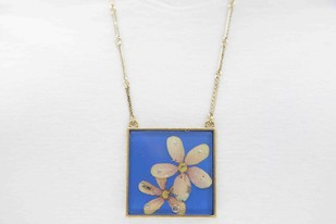 Square Locket with Real Pink Rangoon Flower on Cobalt Blue Enameled Base with Brass Backing Necklace By Alankaara India