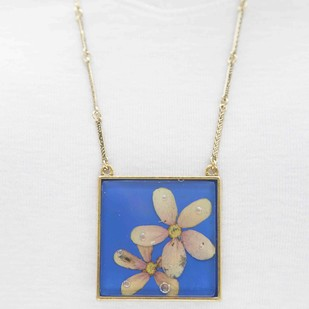 Square Locket with Real Pink Rangoon Flower on Cobalt Blue Enameled Base with Brass Backing by Alankaara India, Contemporary Necklace