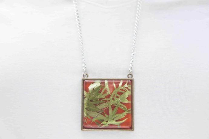Square Locket with Real Green Fern Leaves on Red Enameled Base with Brass Backing by Alankaara India, Contemporary Necklace