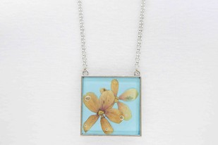 Square Locket with Real Rangoon Flowers on Sky Blue Enameled Base with Brass Backing Necklace By Alankaara India