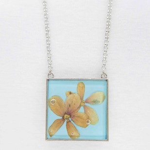 Square Locket with Real Rangoon Flowers on Sky Blue Enameled Base with Brass Backing by Alankaara India, Contemporary Necklace