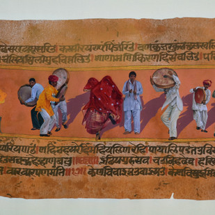UTTSAV - Rebirth and Survival by Malchand Pareek, Conceptual Painting, Mixed Media on Canvas, Brown color