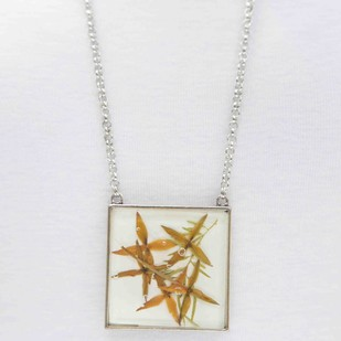 Square Locket with Real Ixora Flowers on White Enameled Base with Brass Backing by Alankaara India, Contemporary Necklace
