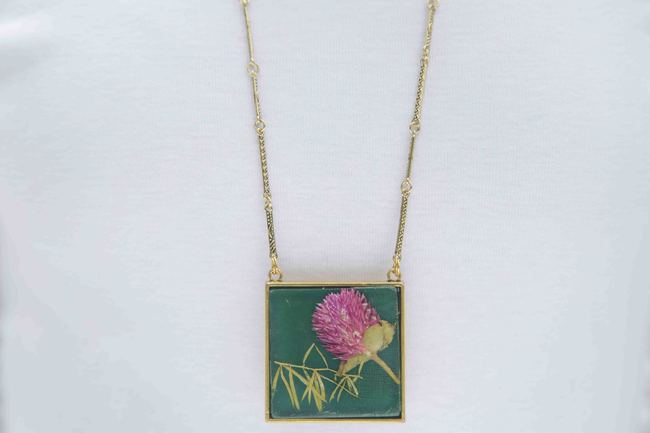 Square Locket with Real Globe Amaranth or Bachelor Button Flowers on Emerald Green Enameled Base with Brass Backing by Alankaara India, Contemporary Necklace