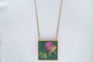 Square Locket with Real Globe Amaranth or Bachelor Button Flowers on Emerald Green Enameled Base with Brass Backing Necklace By Alankaara India