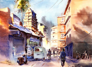'' Early Bright '' by GN Madhu, Impressionism Painting, Watercolor on Paper, Brown color