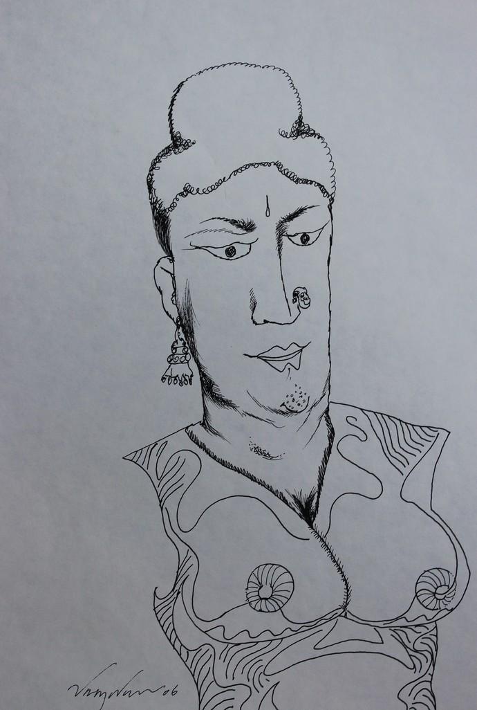 Buddha by Viraj Naik, Illustration Drawing, Pen & Ink on Paper, Gray color