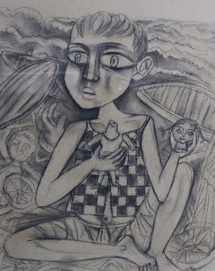 Untitled by Paritosh Sen, Illustration Drawing, Pencil on Paper, Gray color
