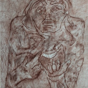 Watermelon Man by Krishen Khanna, Impressionism, Impressionism Drawing, Conte on Paper, Brown color