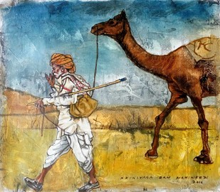 Pushkar Camel Trader by Sreenivasa Ram Makineedi, Impressionism Painting, Mixed Media on Canvas, Brown color