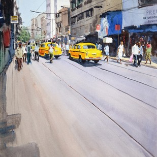 Yellow Taxis, Kolkata by Ramesh Jhawar, Impressionism Painting, Watercolor on Paper, Gray color