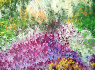 The Bliss of Heaven by kaukab Ahmad, Impressionism Painting, Acrylic on Canvas, Purple color