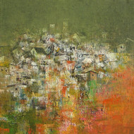 Village of my Dream by M Singh, Abstract Painting, Acrylic on Canvas, Green color