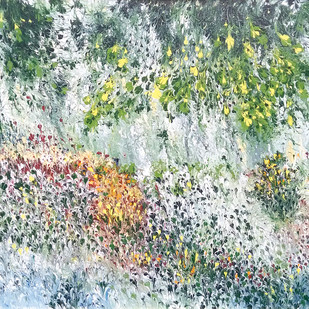 Snowy Wonderland by kaukab Ahmad, Impressionism Painting, Acrylic on Canvas, Beige color