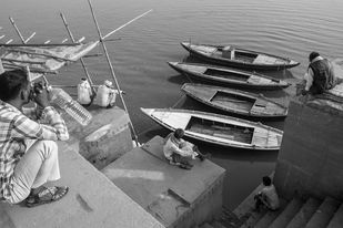Gazing at the Ganga by Sahastrarashmi SR, Image Photography, Digital Print on Archival Paper, Gray color