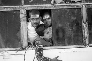The Trapped Bus by Sahastrarashmi SR, Image Photography, Digital Print on Archival Paper, Gray color