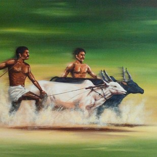 bull race by Sunil Linus De, Impressionism Painting, Acrylic on Canvas, Green color