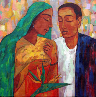 new story by Avinash Mokashe, Expressionism Painting, Acrylic on Board, Brown color