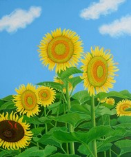 SUN FLOWER by SK NUR ALI, Photorealism Painting, Acrylic on Canvas, Green color
