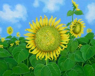 SUN FLOWER-II by SK NUR ALI, Photorealism Painting, Acrylic on Canvas, Green color