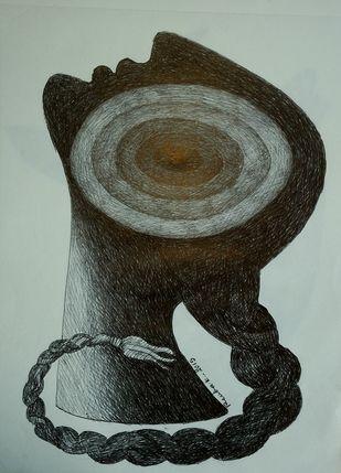 power by renuka kesaramadu, Illustration Drawing, Pen & Ink on Paper, Green color