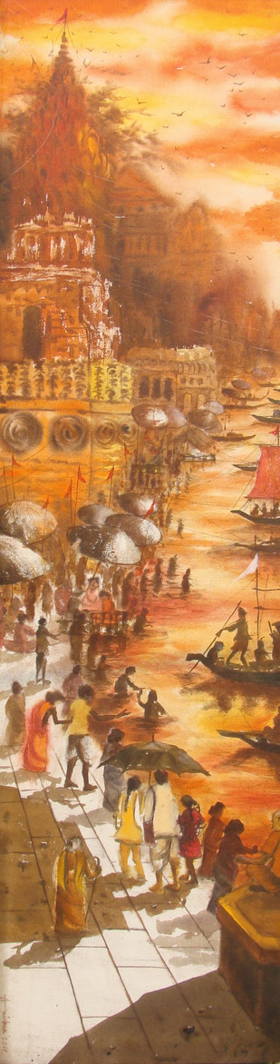 Vibrant Ghats of Varanasi - XII by Anirban Seth, Impressionism Painting, Acrylic on Canvas, Brown color