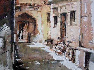 kolkata-6 by Abak Kundu, Impressionism Painting, Watercolor on Paper, Brown color