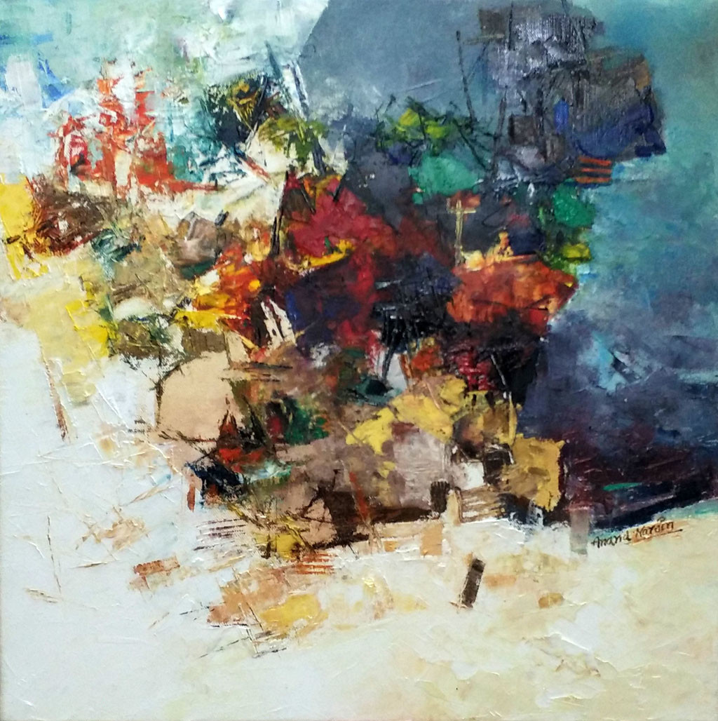 Banaras 35'- 2016 by Anand Narain, Abstract Painting, Oil on Canvas, Beige color