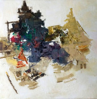 Banaras 38-2016 by Anand Narain, Abstract Painting, Oil on Canvas, Gray color