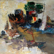 Banaras 36-2016 by Anand Narain, Abstract Painting, Oil on Canvas, Brown color