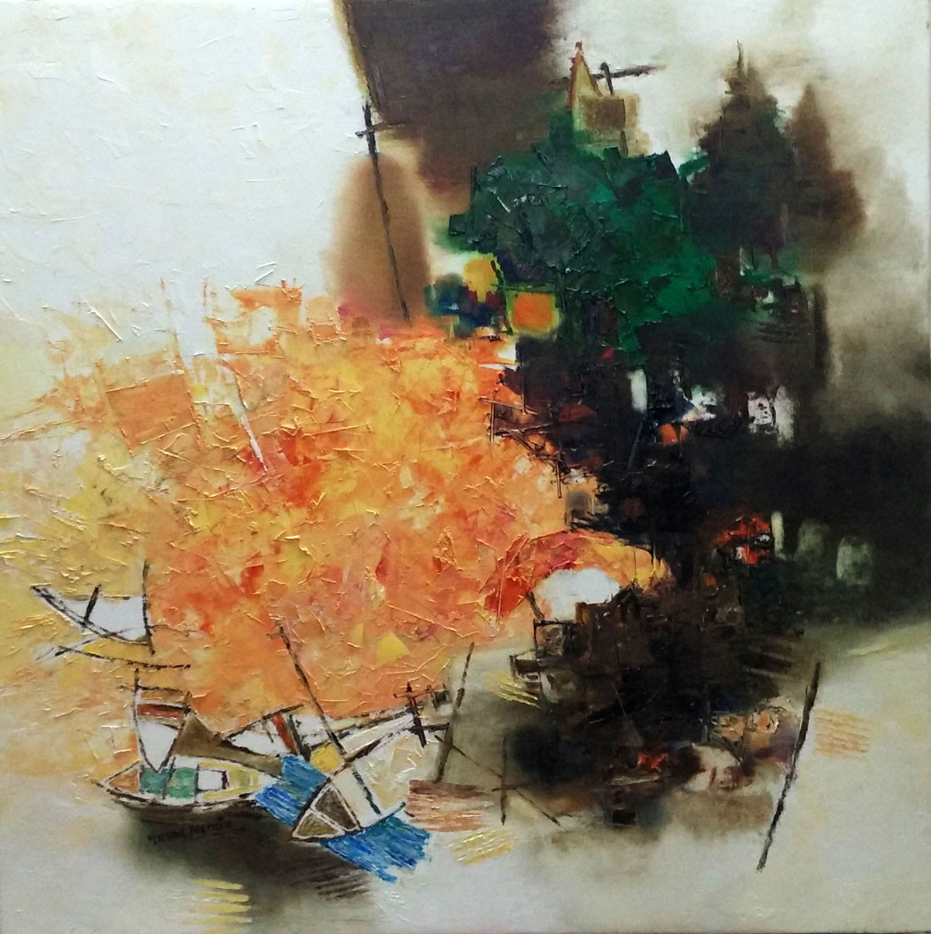 Banaras 37-2016 by Anand Narain, Abstract Painting, Oil on Canvas, Brown color