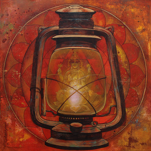 Glory by Rajeshwar Nyalapalli, Expressionism Painting, Acrylic on Canvas, Brown color